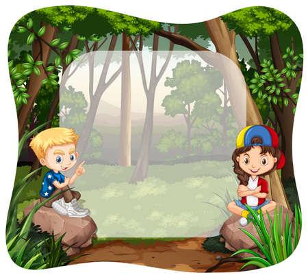 selva: Niño y niña en la ilustración de la selva