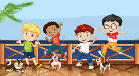 docks: Little boys and their pet dogs illustration
