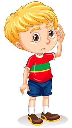 sad: Little boy with sad face illustration Illustration