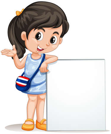 nationalities: Little girl with empty sign illustration