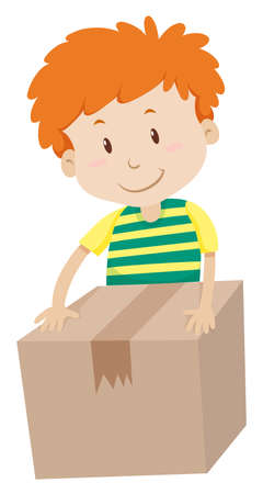 packing boxes: Little boy packing a box illustration