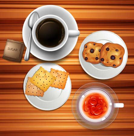 ice tea: Coffee and cookies on table illustration