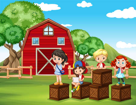 farm boys: Children having fun in the barn illustration