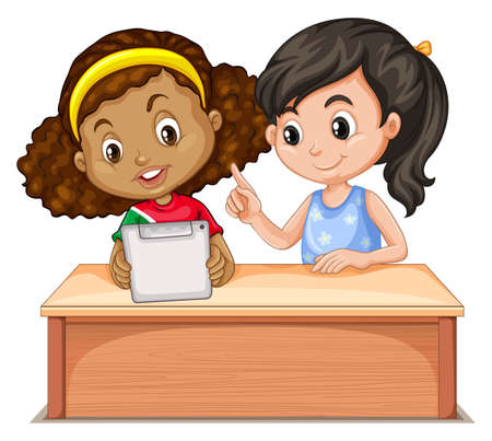 studying computer: Little girls using computer illustration Illustration