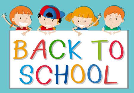 child school: Children holding back to school sign illustration