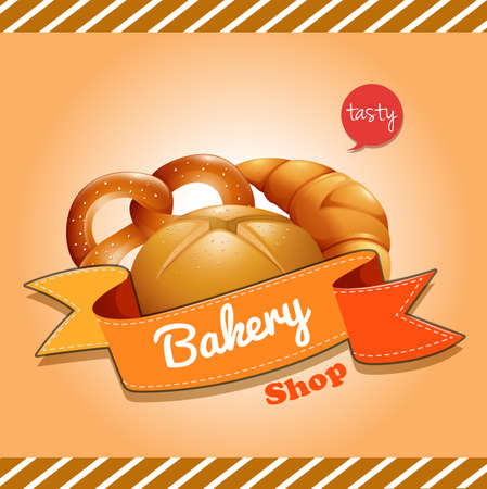 baked: Poster design with baked bread illustration