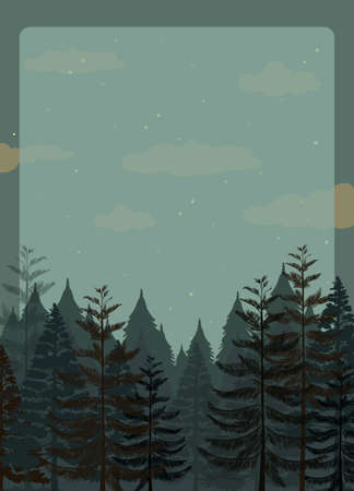 pine forest: Scene of pine forest at night illustration