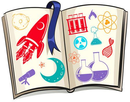 biology: Science and techonolgy symbols on book illustration