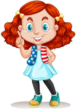 international students: Little girl with red hair illustration