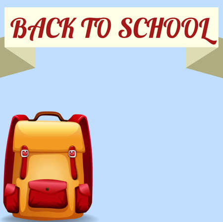 schoolbag: Back to school sign with schoolbag illustration Illustration