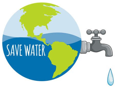 save planet: Save water sign with tap water illustration