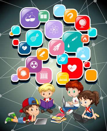 bottons: Children working on computers illustration Illustration