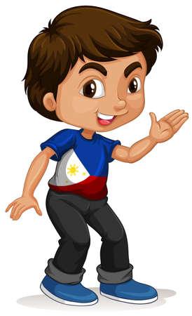 philippines flag: Little boy waving hand illustration