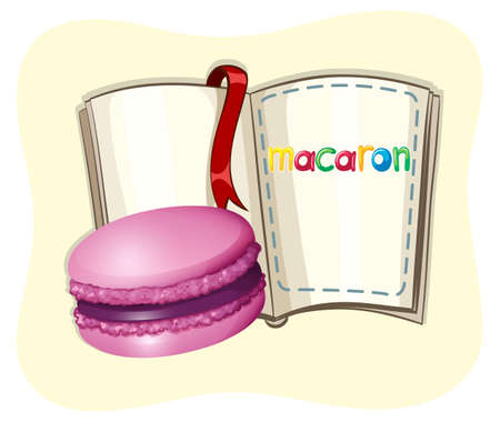 macaron: Purple macaron with book illustration
