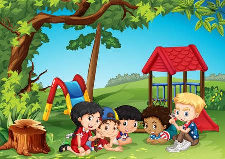 children art: Children playing in the park illustration