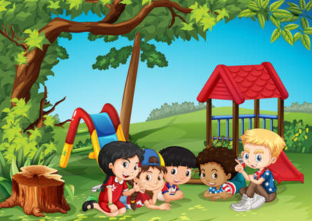 niños sentados: Niños jugando en la ilustración parque Vectores