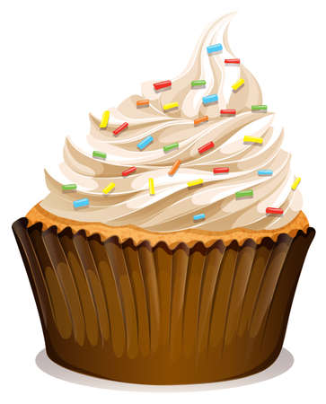 cupcake illustration: Cupcake with cream and toppings illustration Illustration