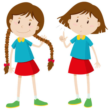 girl short hair: Little girl with long and short hair illustration