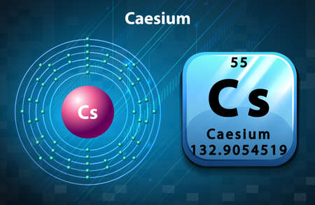electron: Symbol and electron diagram for Caesium illustration Illustration