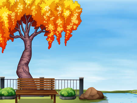 willow tree: Willow tree by the river illustration Illustration