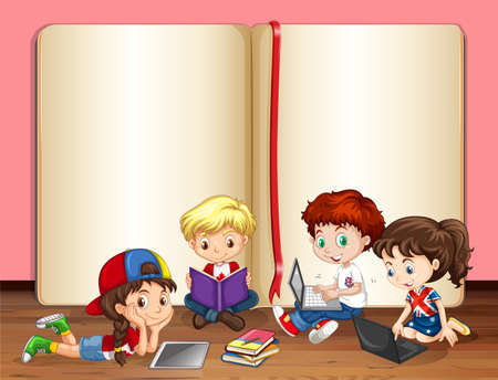child learning: Children working on computer in a room illustration