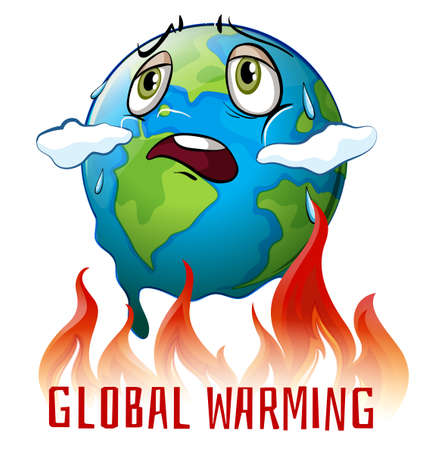 Global warming poster with earth on fire illustration