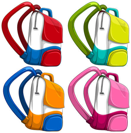 fashion set: Schoolbags in different colors illustration Illustration