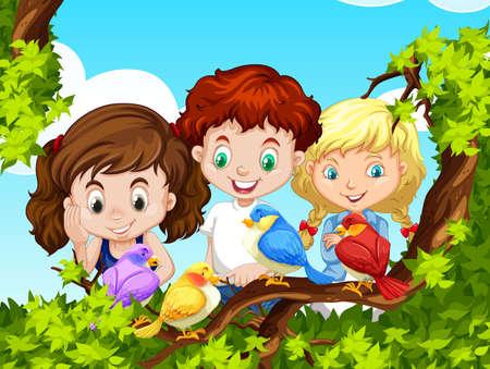 bird illustration: Children looking at birds on branch illustration