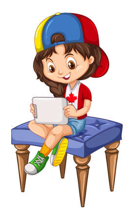 using tablet: Little girl using tablet on a chair illustration Illustration
