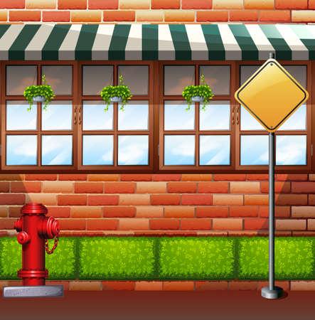 sidewalk: Street scene with bush and building wall illustration Illustration