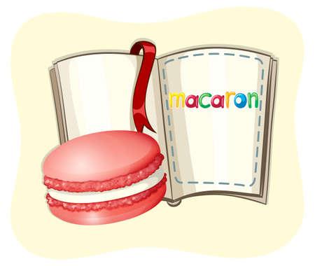 macaron: Macaron and open book illustration
