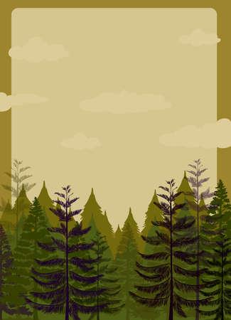 pine forest: Border design with pine forest illustration Illustration