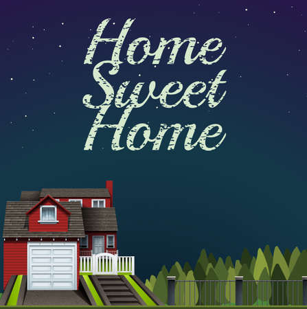 classic house: Home sweet home at night time illustration Illustration