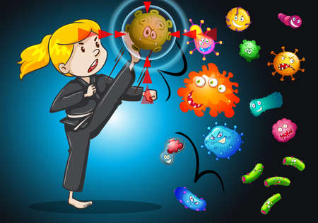 bacteria: Girl fighting with bacteria illustration