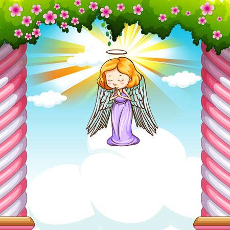 angel flying: Angel flying in the sky illustration
