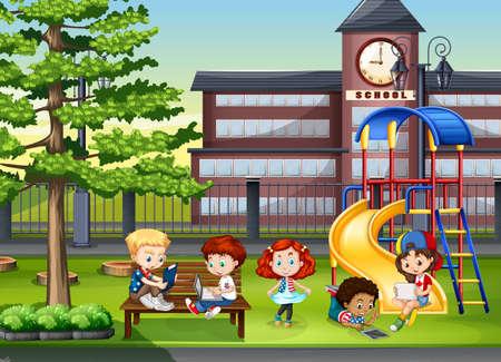Niños jugando en el patio de la escuela ilustración