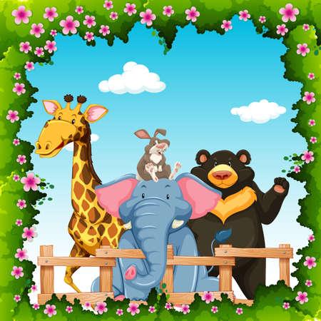 wild living: Wild animals in flower frame illustration