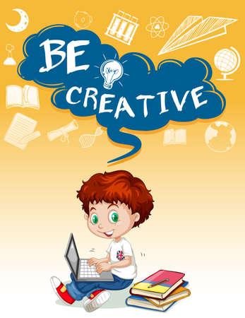 using the computer: El niño pequeño con el ejemplo del ordenador
