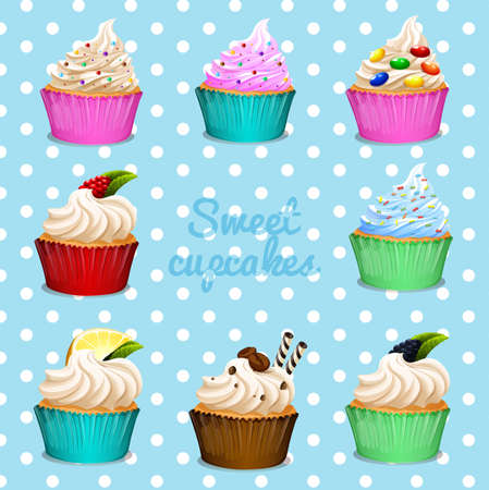 cartoon banner: Banner design with different flavor cupcakes illustration