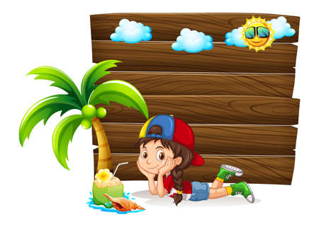 summer holiday: Little girl and wooden board illustration Illustration
