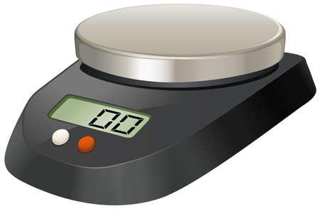 balanza de laboratorio: Escala de laboratorio con placa de metal ilustración