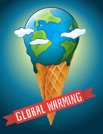greenhouse effect: Global warming poster with melting earth illustration Illustration