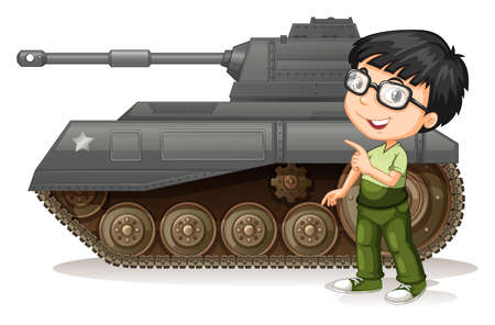tank: Little boy with fighting tank illustration