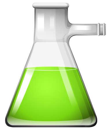 substances: Green liquid in glass beaker illustration