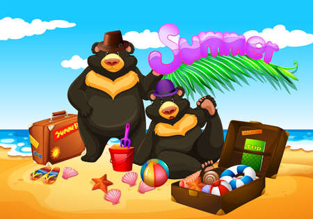 carnivores: Two bears enjoy summer on the beach illustration