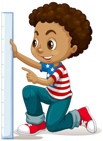 curly hair child: Little boy measuring with ruler illustration Illustration