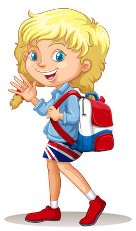 international students: Blond girl waving hand illustration
