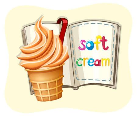soft cream: Soft ice cream and a book illustration Illustration