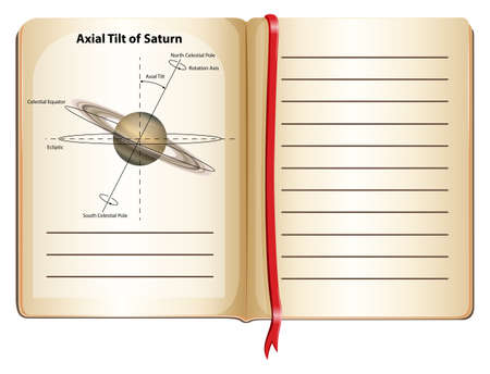 and saturn: Book of axial tilt of Saturn illustration