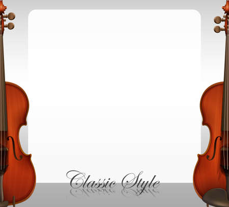 writing instruments: Border design with violins illustration